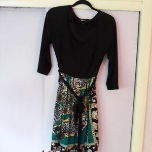 AB Studio knee length dress with black top